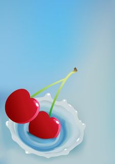 Milk And Cherry Royalty Free Stock Photography