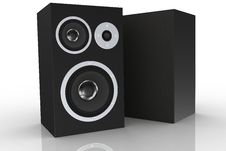 Free Two Black Loudspeakers Stock Photography - 5248472