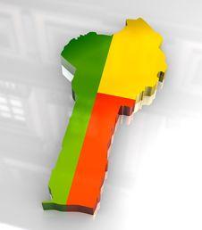 3d Flag Map Of Benin Stock Image