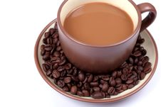 Free Cup With Coffee Beans Stock Photos - 5249603