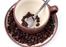 Free Cup With Coffee Beans Stock Images - 5249604
