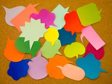 Colorful Balloons (Cork Board Background) Stock Photo
