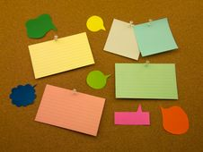 Colorful Balloons And Notes (Cork Board Background) Royalty Free Stock Photo