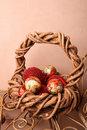 Free Christmas Basket With Balls Royalty Free Stock Photography - 5257187