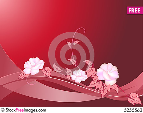 Free Floral And Curl On Red Background Stock Photos - 5255563