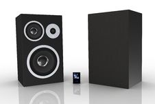 Free Two Black Loudspeakers With A Music Player Stock Photos - 5250143