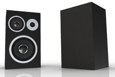 Free Two Black Loudspeakers With A Music Player Royalty Free Stock Images - 5250199