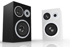 Free Black And White Loudspeakers Royalty Free Stock Photo - 5250345