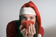 Free Woman With Christmas Candle - Horizontal Stock Photography - 5251912