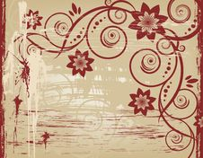 Free Grunge Floral Vector Design. Royalty Free Stock Images - 5252529