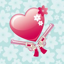 Free Heart And Revolver Stock Image - 5252631