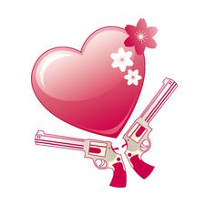 Heart And Revolver On White Royalty Free Stock Photo