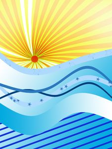 Free Sun Coming Up From Water Waves Stock Photography - 5254822