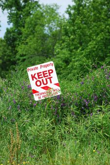 No Trespassing Sign In Field Stock Image