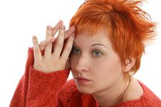 Free Sad Red Haired Woman Royalty Free Stock Photography - 5257087