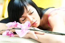 Free Asian Girl With Orchid Stock Photography - 5257392