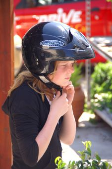 Free Young Girl With A Helmet Royalty Free Stock Photography - 5257967