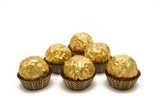 Free Chocolate Candies Are In The Gold Wrapping Royalty Free Stock Image - 5258046