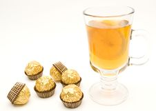 Free Tea With A Lemon In Glass Chake And Candies Royalty Free Stock Image - 5258206