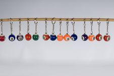 Free Miniature Pool Ball Keyrings Stock Photography - 5259192