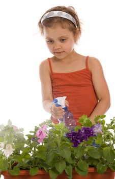 Free Young Girl Watering A Flower Royalty Free Stock Photos - 5259718