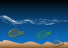 Free Fish And Sea Blue Royalty Free Stock Photography - 5259777