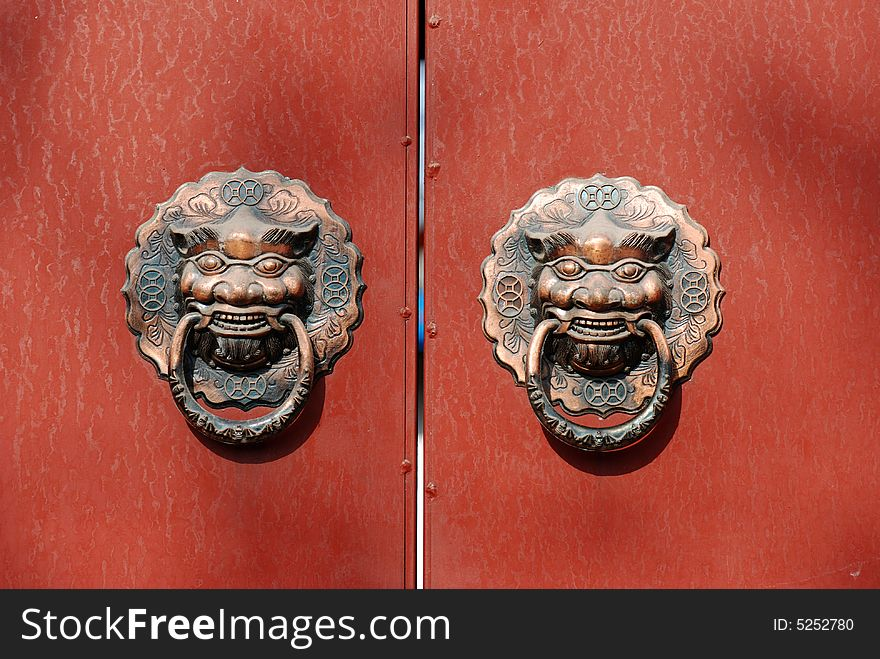 Lion Door Knocker On Red Door Free Stock Images Photos 5252780 Stockfreeimages Com