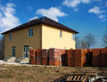 Free New House With Stacks Of Bricks For The Construction Stock Image - 52521271