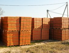 Free Stacks Of Bricks For The Construction Royalty Free Stock Photo - 52520975