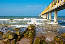 Pier Stretching Into The Sea Stock Image