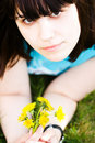 Free Girl With Dandelions Stock Images - 5262264