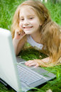 Free Smiling Little Girl With Laptop Royalty Free Stock Photo - 5264065