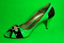 Green High-heeled Shoe Royalty Free Stock Photos