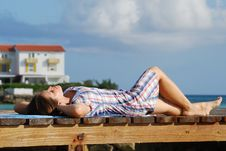 Free Laying On A Promenade Royalty Free Stock Photos - 5261688