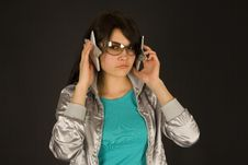Free Fashion Girl Listening To Stars Royalty Free Stock Photography - 5262237