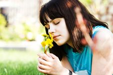 Free Girl With Dandelions Royalty Free Stock Image - 5262426