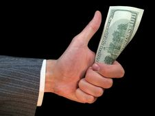 Free One Hundred Dollars In A Hand Of The Man Stock Image - 5263911