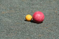Free Red Bocce Ball Near The Pallino Royalty Free Stock Image - 5264156