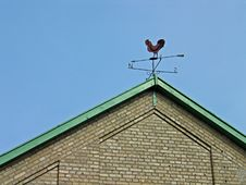 Weathercock Vane On A Roof Royalty Free Stock Photo
