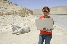 Free Woman And Laptop Stock Photo - 5266390