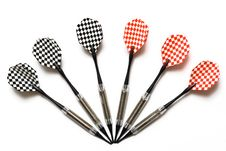 Red And Black Darts Isolated Royalty Free Stock Image