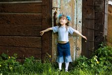 Free Girl At Old Door Stock Images - 5267754