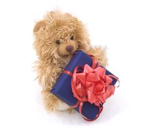 Free Teddy Bear With Gift Box Royalty Free Stock Photo - 5267775