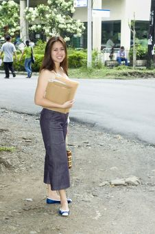 Free Woman With Envelopes Going To Post OFfice Stock Image - 5268991