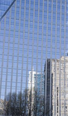 Free Skyline Reflected In Blue Glass Stock Photography - 5269042