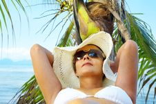 Free Woman And Palm Tree Stock Image - 5269461