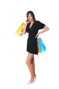 Free Young Girl With Shopping Bags Royalty Free Stock Image - 5269956