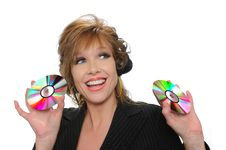 Free Businesswoman Holding CDs Stock Image - 5269971