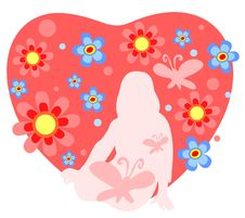 Girl And Heart Stock Photo