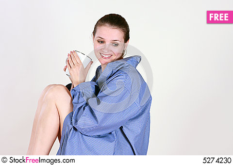 Free The Portrait Of A Young Woman With A Cup Stock Photo - 5274230